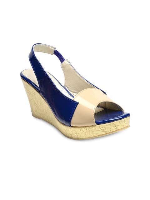 Nell Women Blue Colourblocked Peep-Toe Heels
