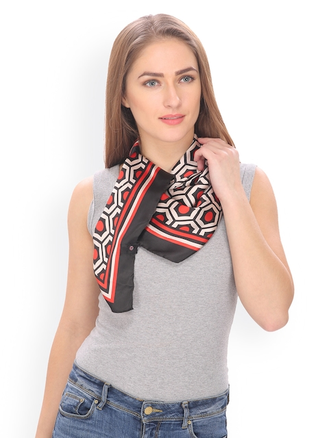 Citypret Red & Cream-Coloured Printed Scarf