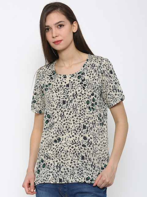Park Avenue Women Beige & Navy Blue Printed Regular Top