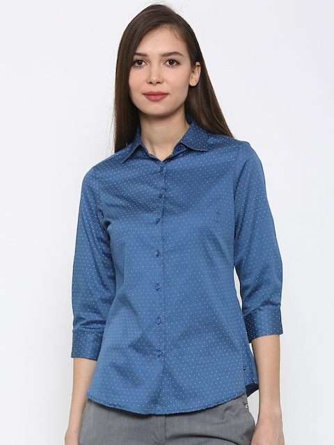 Park Avenue Women Blue Printed Semi Formal Shirt