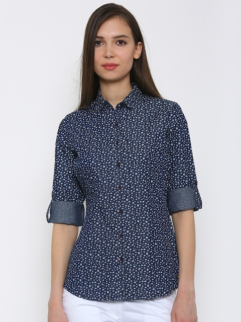 Park Avenue Women Navy Printed Shirt