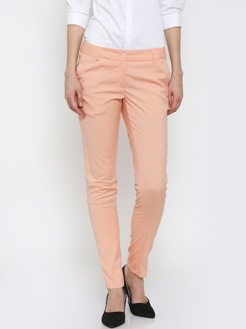 Park Avenue Women Peach Tapered Fit Formal Trousers