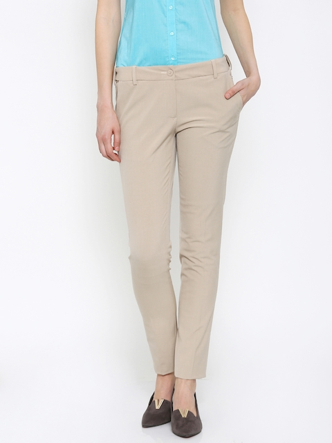 Park Avenue Women Beige Solid Tapered Fit Formal Trousers