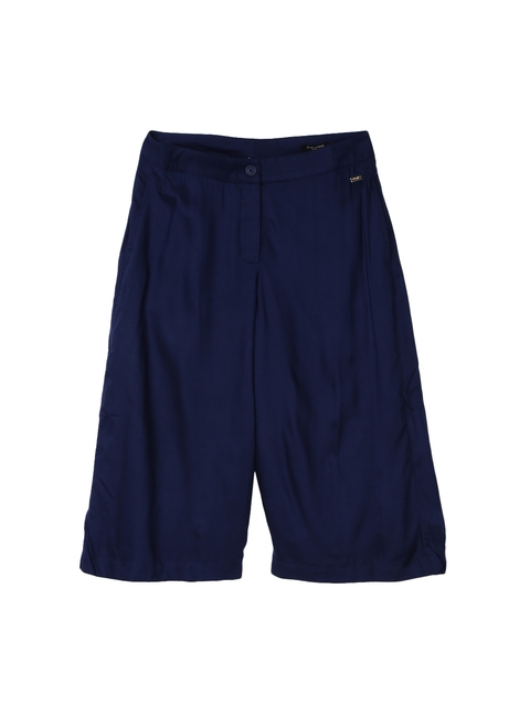 Park Avenue Women Navy Blue Regular Fit Solid Culottes