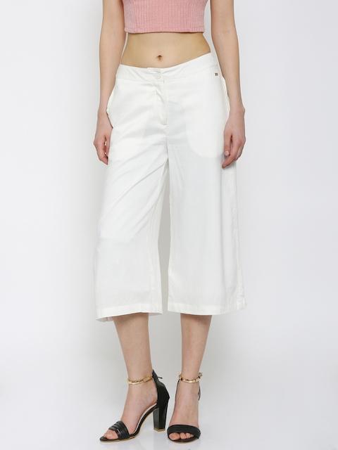 Park Avenue Women White Solid Culottes