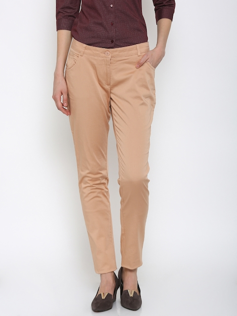 Park Avenue Women Nude-Coloured Solid Tapered Fit Formal Trousers