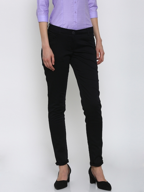 Park Avenue Women Black Solid Tapered Fit Formal Trousers