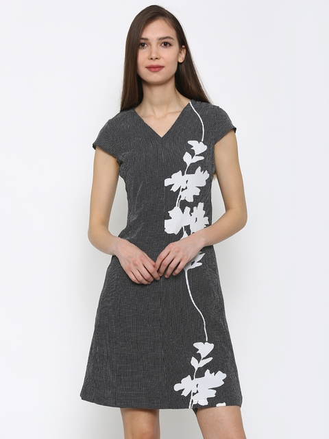 Park Avenue Women Black Printed A-Line Dress