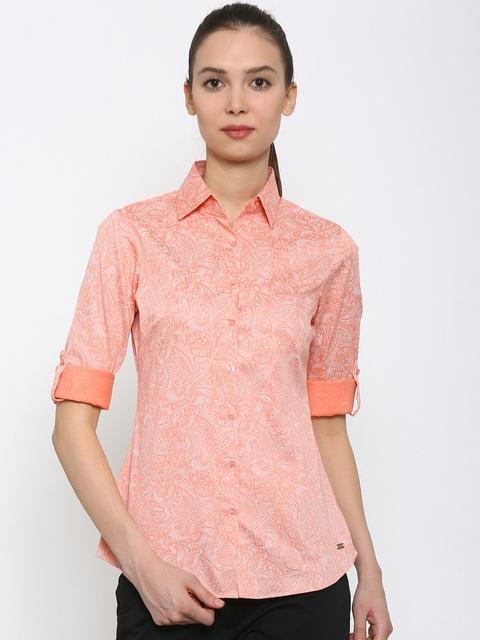 Park Avenue Women Pink Printed Formal Shirt