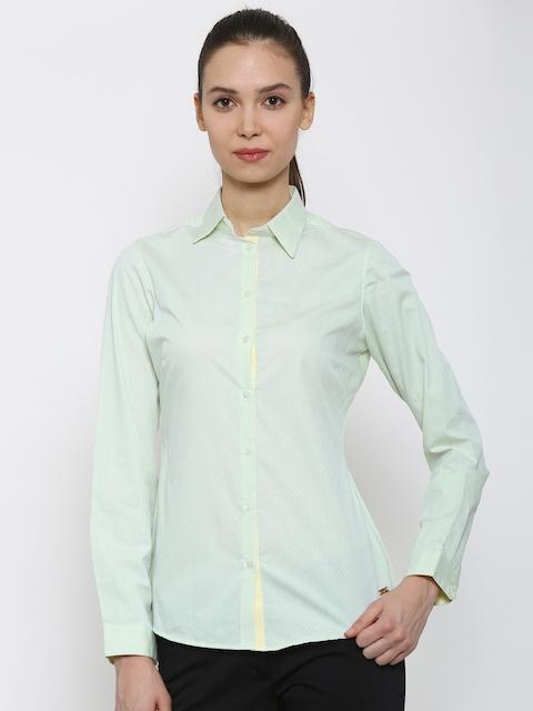 Park Avenue Women Green Self-Design Formal Shirt
