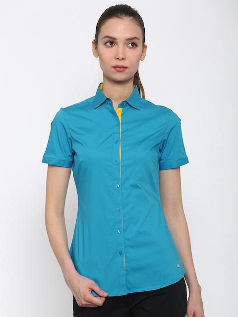 Park Avenue Women Blue Solid Formal Shirt