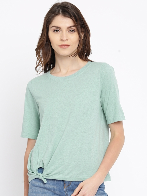 Vero Moda Women Green Solid Boxy Top
