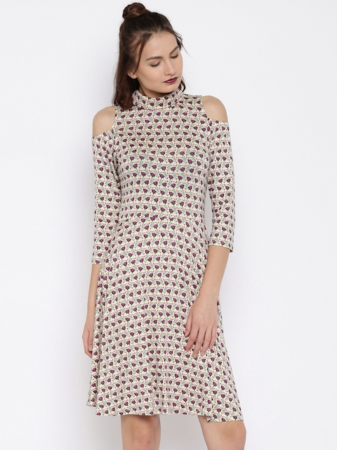 AND Women Beige & Pink Printed Fit & Flare Dress