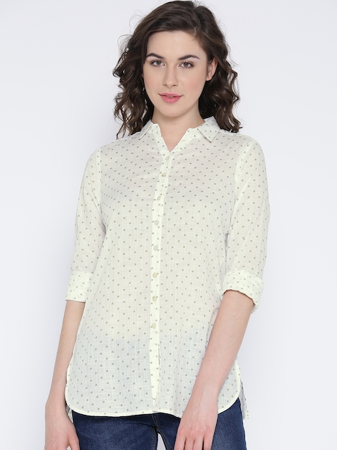 AND Women Off-White Printed Casual Shirt