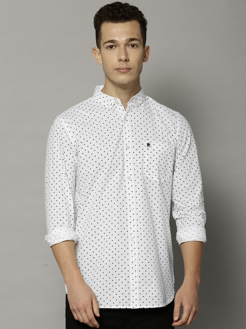 French Connection Men White Slim Fit Printed Casual Shirt