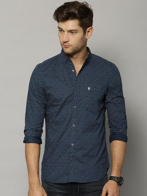 French Connection Men Blue Slim Fit Printed Casual Shirt