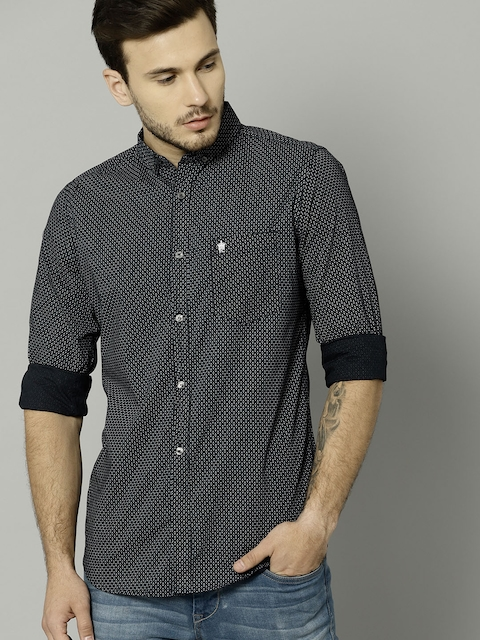 French Connection Men Navy Slim Fit Printed Casual Shirt