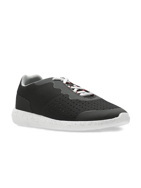 Clarks Men Black Perforated Torset Vibe Sneakers