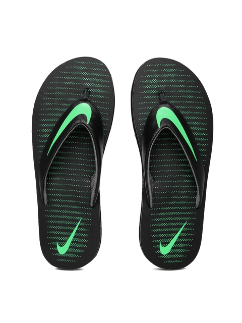 Nike Men Black & Green Chroma Thong 5 Flip-Flops