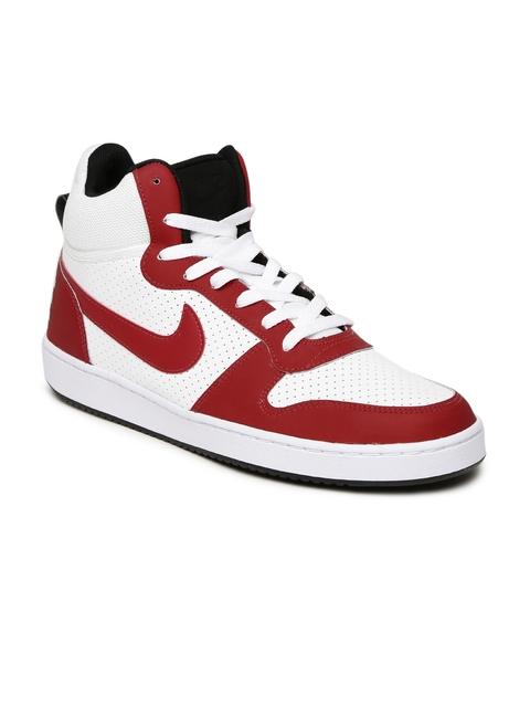 Nike Men White & Maroon Leather Court Borough Mid-Top Sneakers