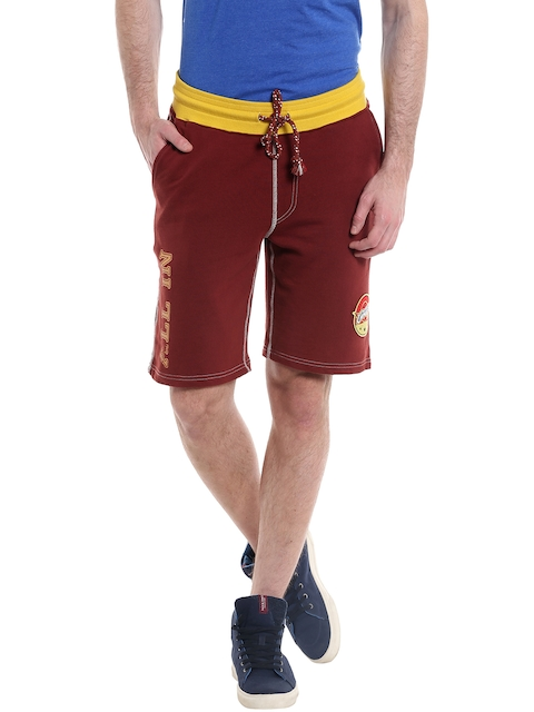 Jack & Jones Men Maroon Printed Detail Shorts  available at myntra for Rs.999