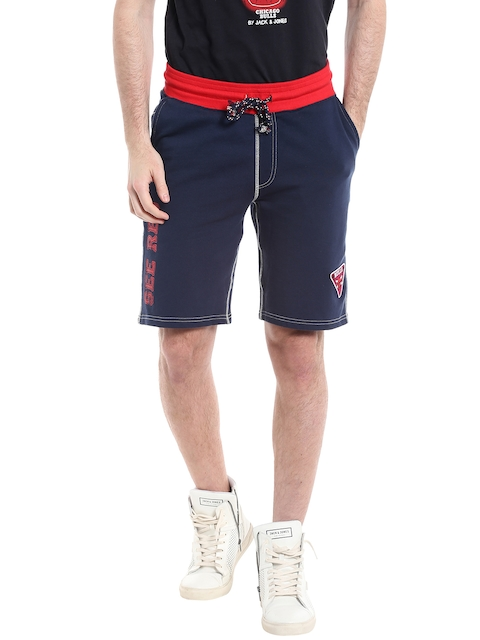 Jack & Jones Men Navy Printed Detail Shorts  available at myntra for Rs.999