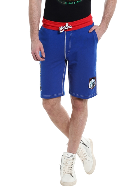 Jack & Jones Men Blue Printed Detail Shorts  available at myntra for Rs.999