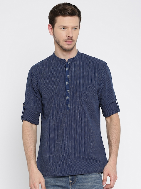Jack & Jones Men Navy Blue Slim Fit Printed Casual Shirt
