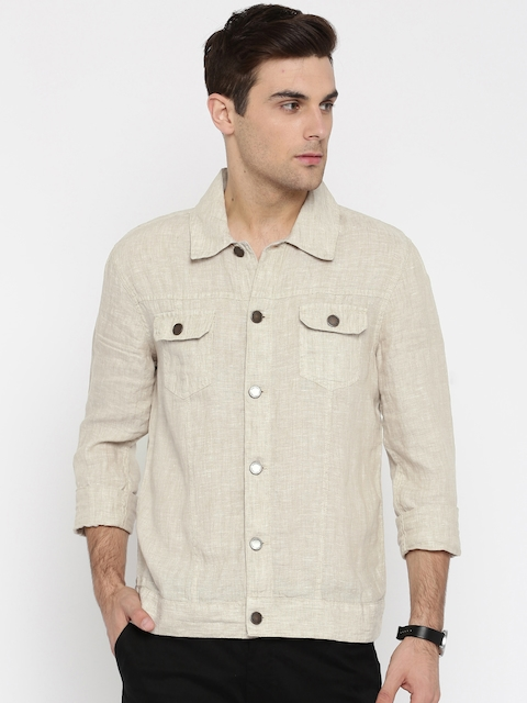 Jack & Jones Men Beige Regular Fit Solid Shacket