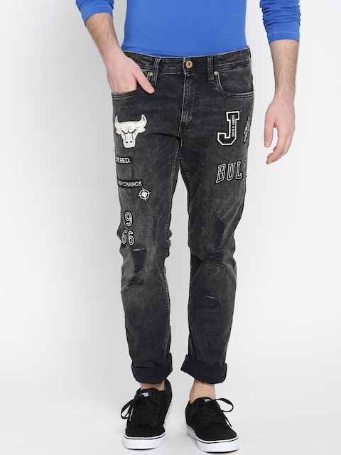 Jack & Jones Men Black Slim Fit Mildly Distressed Stretchable Jeans