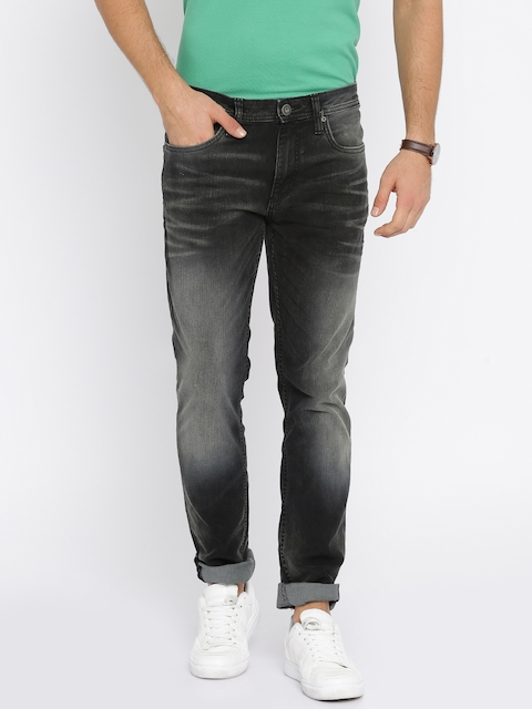 Jack & Jones Men Black Tim Slim Fit Stretchable Jeans