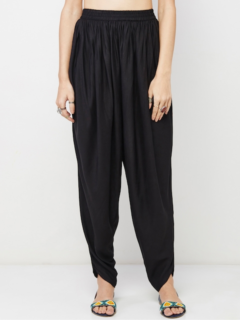 Global Desi Women Black Solid Jodhpuri Trousers
