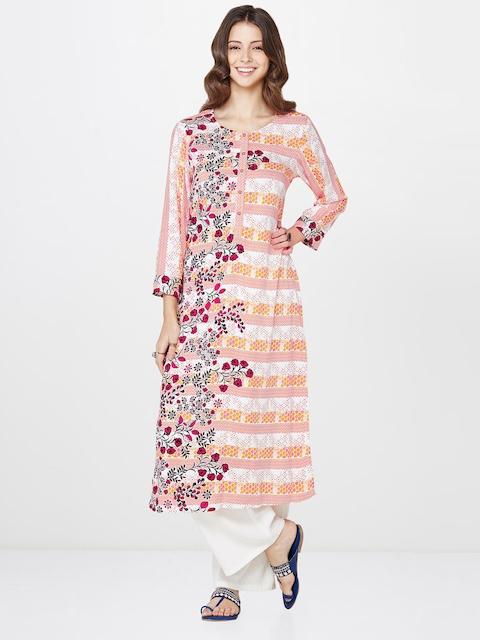 Global Desi Women Off-White & Pink Printed A-Line Kurta