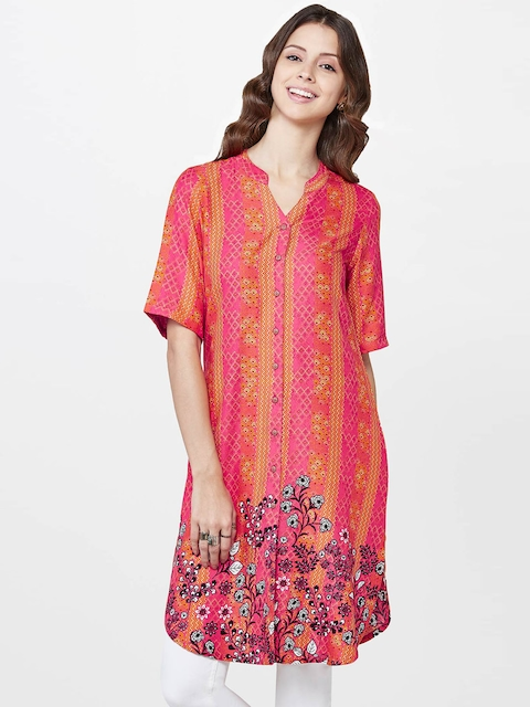 Global Desi Women Pink & Orange Printed Straight Kurta  available at myntra for Rs.719