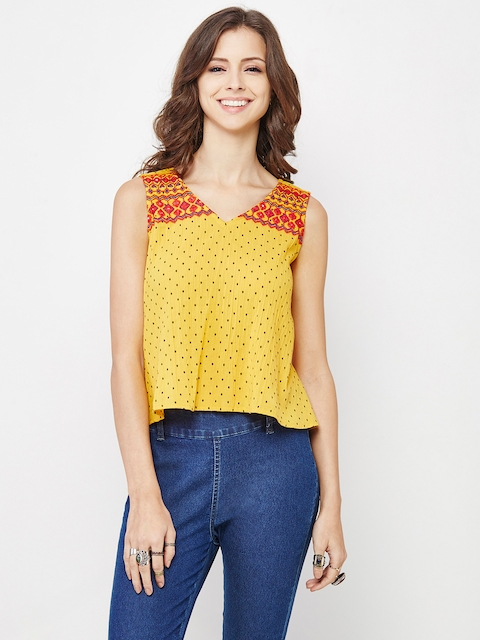 Global Desi Women Mustard Yellow Self-Design A-Line Top