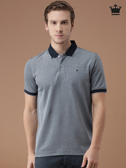 Louis Philippe Men Blue Regular Fit Polo T-Shirt