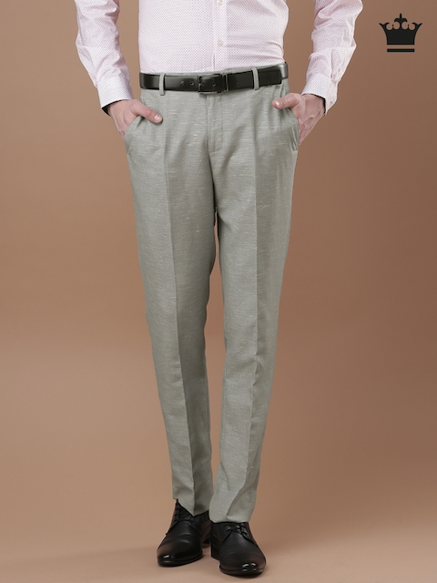 Louis Philippe Men Grey Milano Fit Formal Trousers
