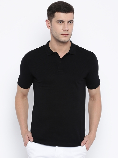 Van Heusen Men Black Polo Collar T-shirt