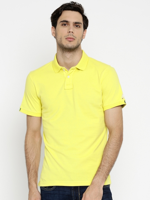 Peter England Men Yellow Solid Polo Collar T-shirt