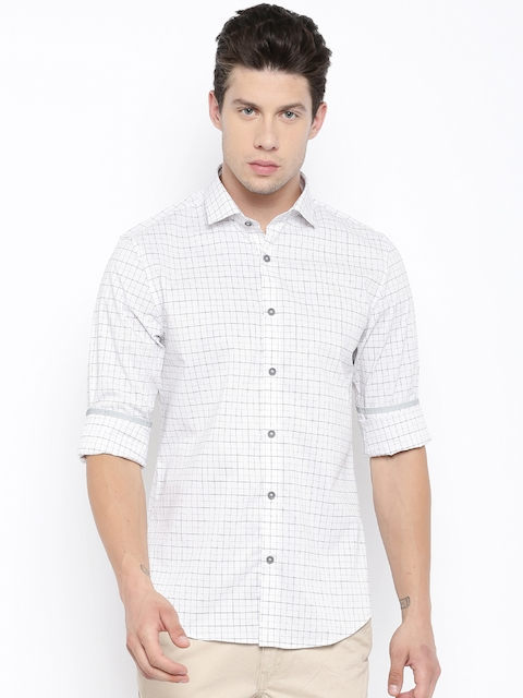 Peter England Men White & Navy Checked Casual Shirt