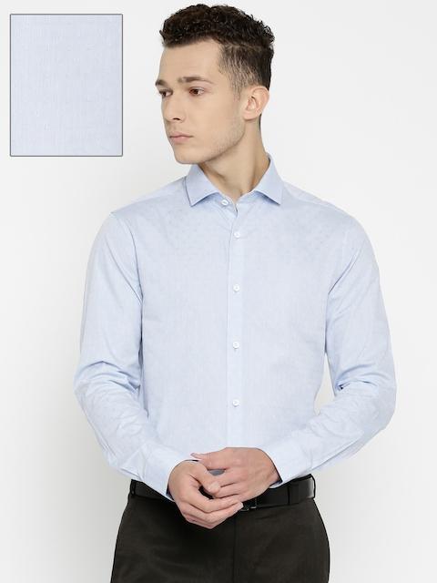 Peter England Men Blue Slim Fit Self-Designed Formal Shirt