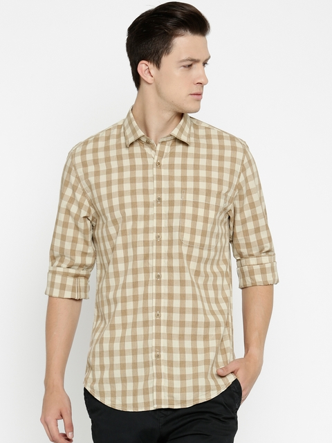 Peter England Men Khaki Slim Fit Checked Casual Shirt
