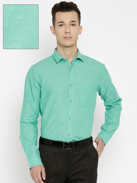 Peter England Men Green Nuvo Fit Solid Formal Shirt