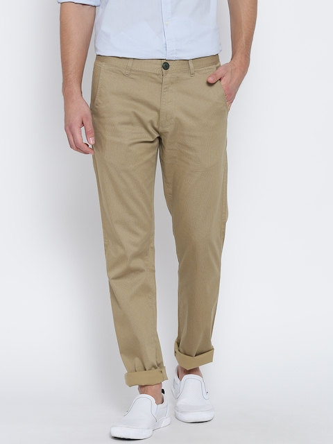 Peter England Men Beige Printed Slim Chino Trousers
