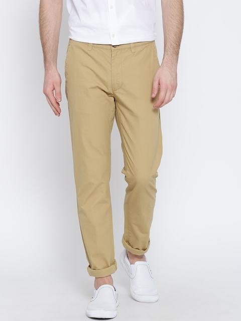 Peter England Casuals Men Beige Super-Slim Fit Chino Trousers