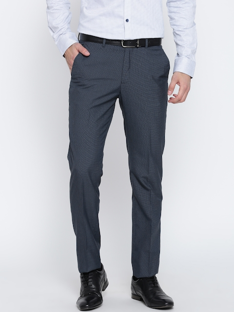 Peter England Men Blue Slim Self-Checked Formal Trousers