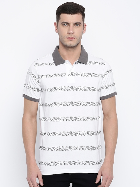 Allen Solly Men White & Grey Printed Polo T-shirt