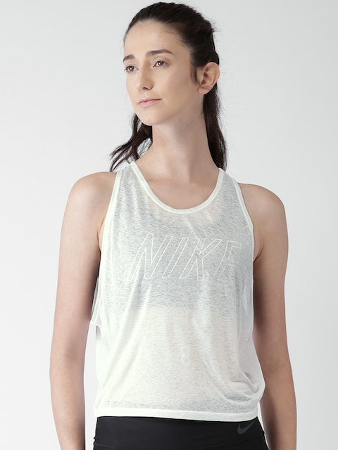 Nike Women White AS BRTHE Pro INSI GX Sheer Tank Top
