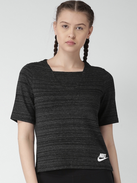 Nike Women Charcoal Grey Self-Design High-Low Top