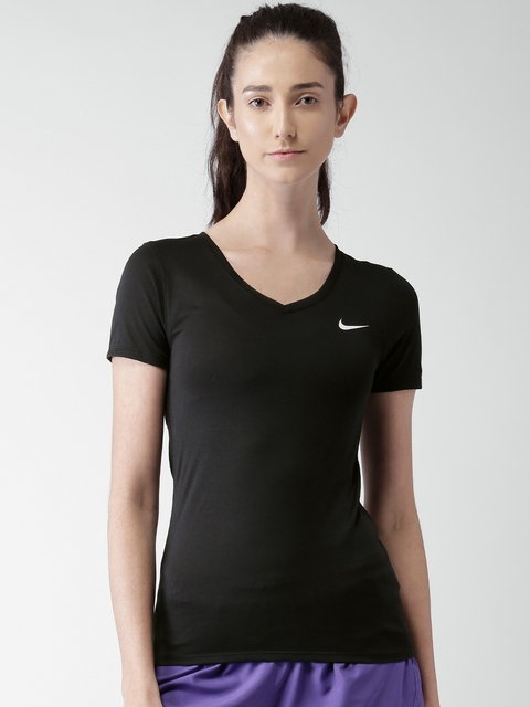 Nike Women Black Solid AS W NK DRY T-shirt